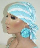 Chemo muts hoofddoekje in wit met blauwe kleur_