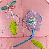 Meisjespetje cap roze met bloem en vlinder_