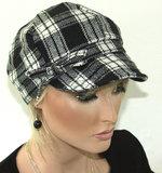 Dames baretje gevoerd met ruit kleur zwart wit_