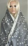 Heerlijk warme wintersjaal met sterren kleur grijs_