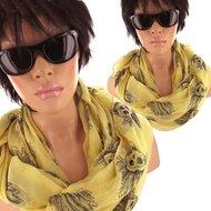 rondjaal skulls geel zomersjaal dames