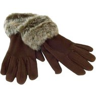fleece handschoenen bontje bruin dames bont bontje