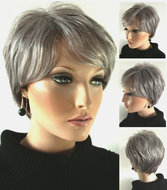 grijze pruik kort haar
