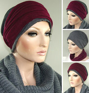 grijze chemo muts met rode hoofdband