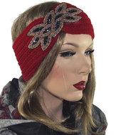 gebreide hoofdband rood diadeem