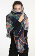 sjaal blauw grijs oranje