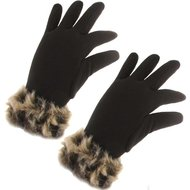 handschoenen dierprint dames winter zwart bruin