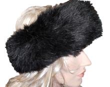haarband hoofdband zwart bont
